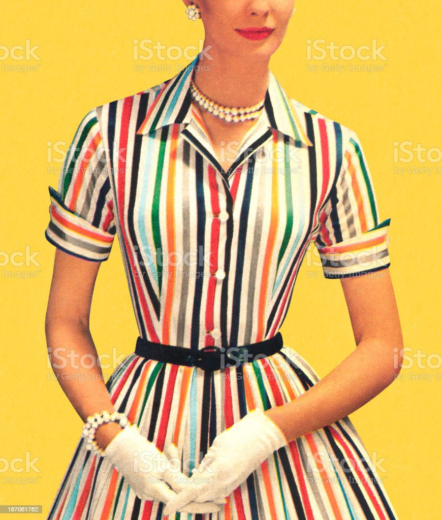Woman wearing old-fashioned striped dress with white gloves vector art illustration