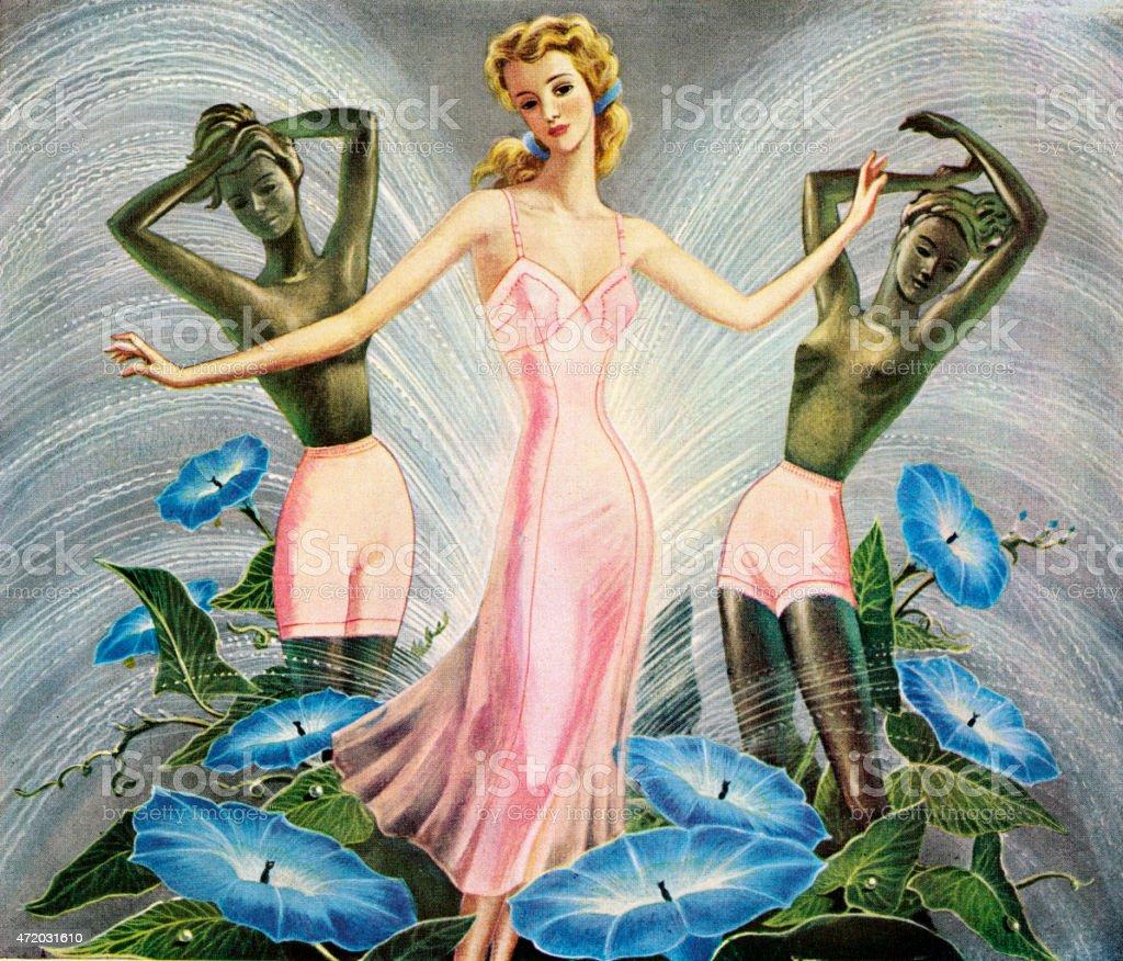 Woman Wearing Pink Full Slip vector art illustration