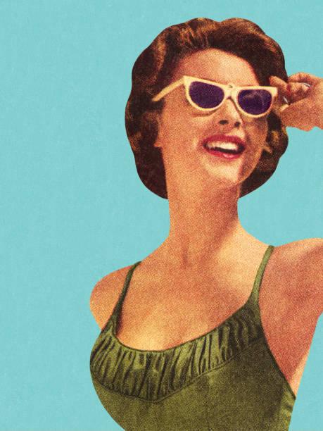 woman wearing sunglasses and green swimsuit - 復古風格 幅插畫檔、美工圖案、卡通及圖標