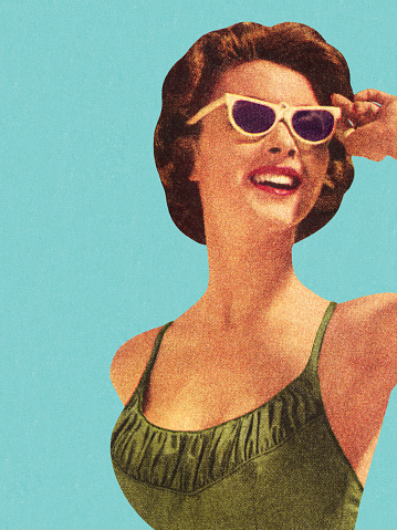 Woman Wearing Sunglasses And Green Swimsuit 개인 장식품에 대한 스톡 벡터 아트 및 기타 이미지