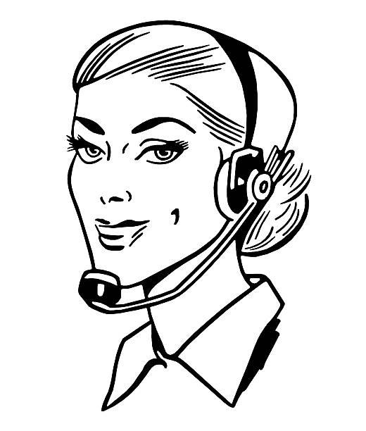 Woman Wearing Telephone Headset Woman Wearing Telephone Headset switchboard operator vintage stock illustrations