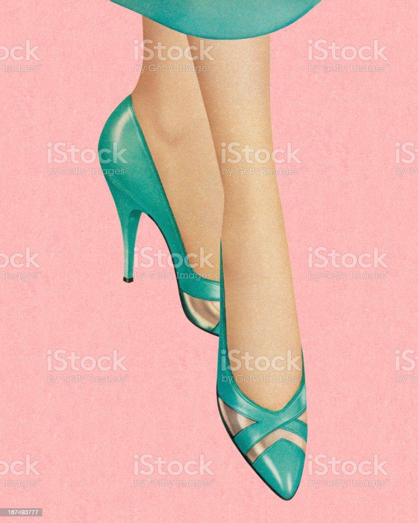 Woman Wearing Turquoise Heels vector art illustration