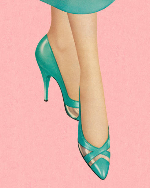 woman wearing turquoise heels - shoes fashion stock illustrations, clip art, cartoons, & icons