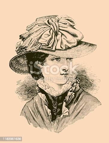 Illustration of a Woman wearing Velvet hat ,fashion of 19th century