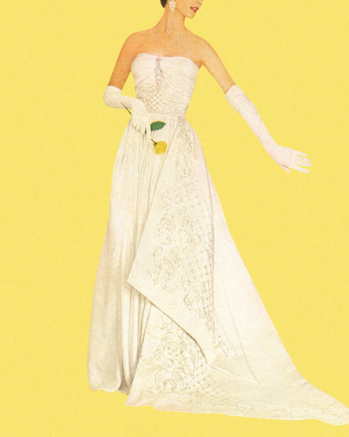 stockillustraties, clipart, cartoons en iconen met woman wearing white dress and holding rose - bruid
