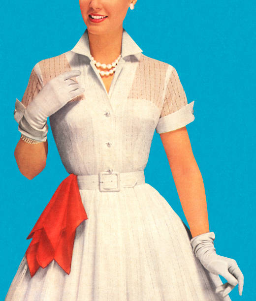 Woman Wearing White Dress With Red Handkerchief Woman Wearing White Dress With Red Handkerchief formal glove stock illustrations