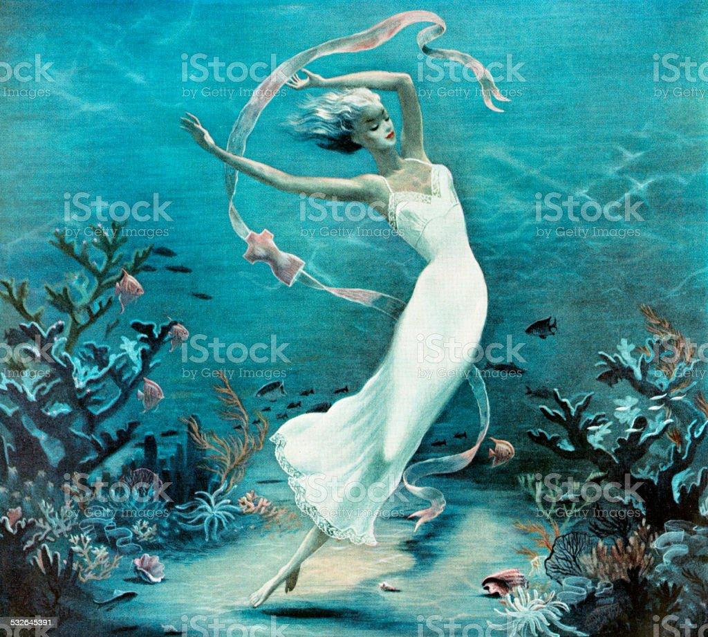 Woman Wearing White Slip vector art illustration