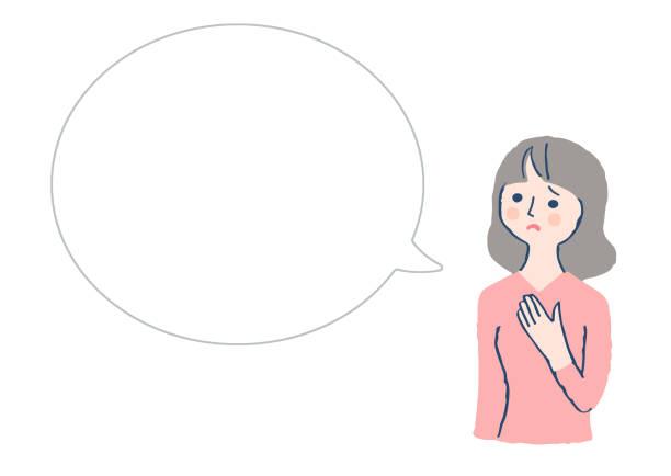 ilustrações de stock, clip art, desenhos animados e ícones de a woman with a troubled expression and a speech bubble - mão no peito