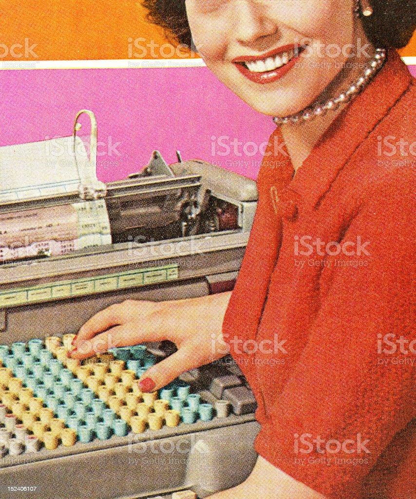 Woman With Adding Machine vector art illustration