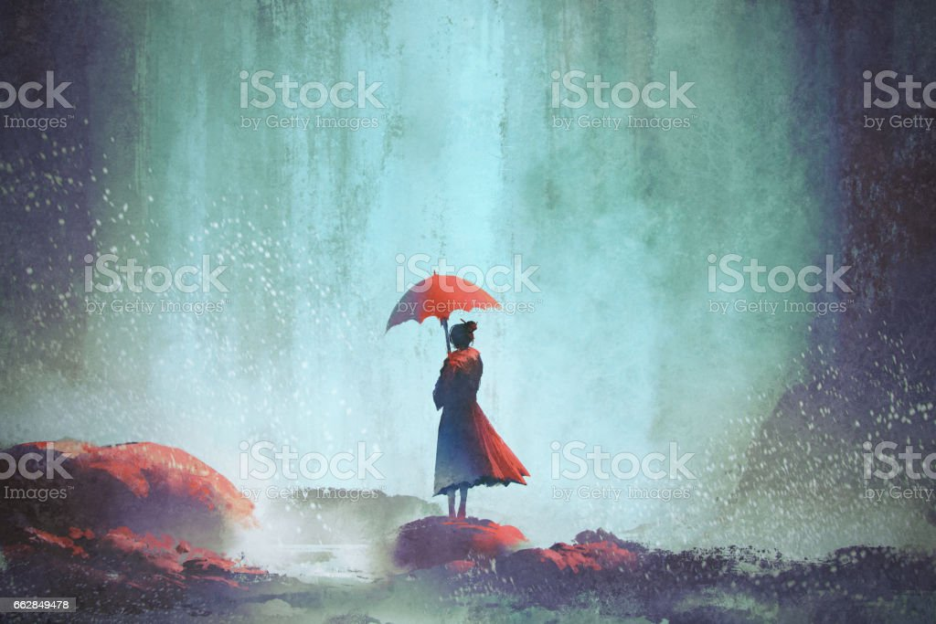 woman with an umbrella standing against waterfall vector art illustration