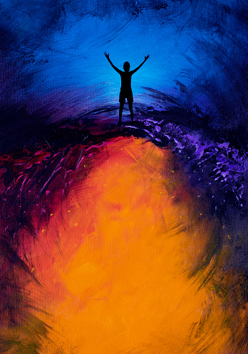 Woman with arms out on colorful abstract background