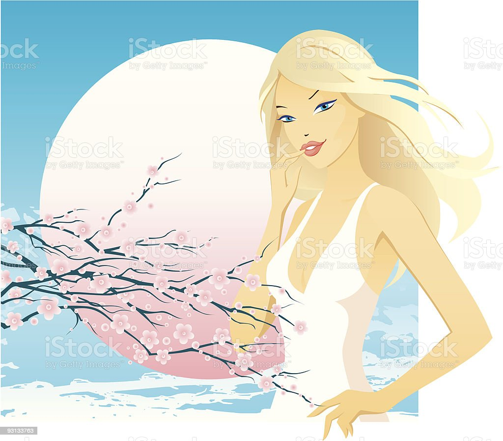 woman with cherry twig royalty-free stock vector art
