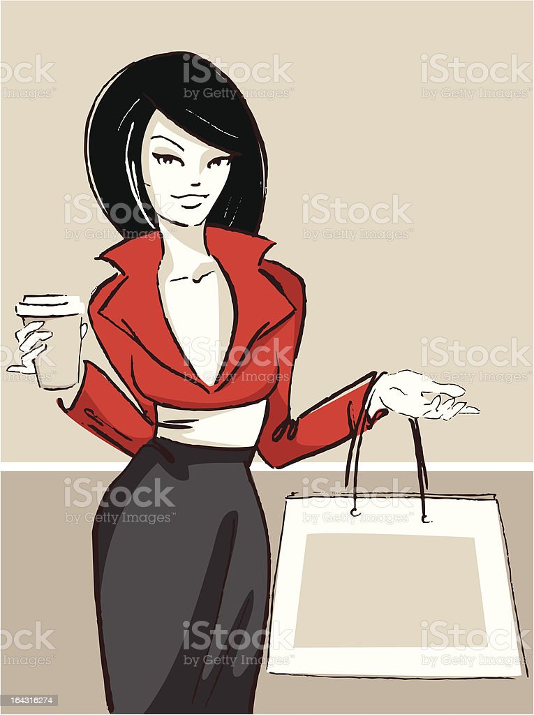 Woman with coffee and shopping bag royalty-free stock vector art