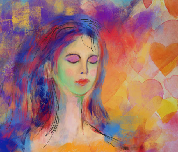Woman with eyes closed painting. meditation love and relaxation vector art illustration