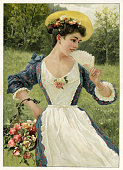 istock Woman with flowers in garden illustration 1899 1251584742
