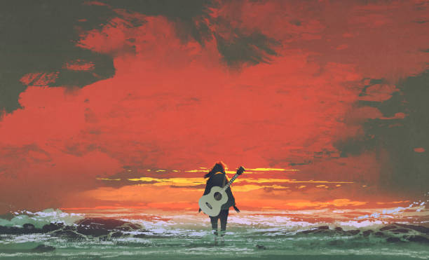 woman with guitar standing in the sea vector art illustration