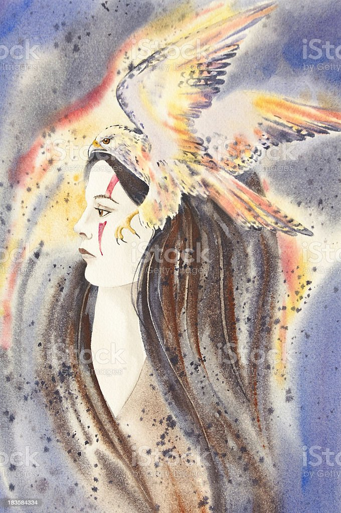 Woman With Hawk Spirit royalty-free woman with hawk spirit stock vector art & more images of abstract