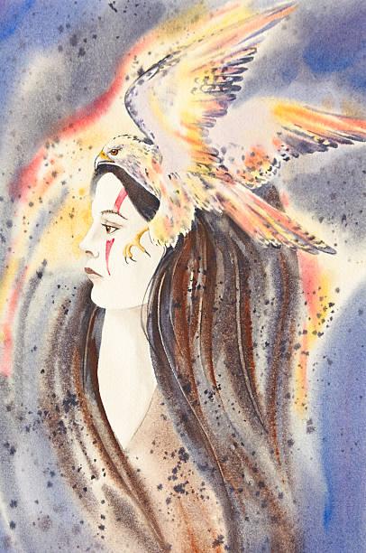 Woman With Hawk Spirit vector art illustration