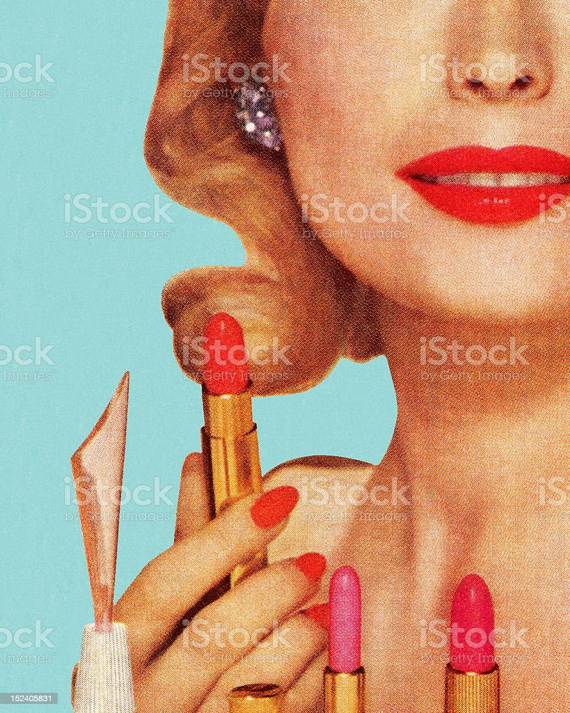 Femme avec Lipsticks - Illustration vectorielle