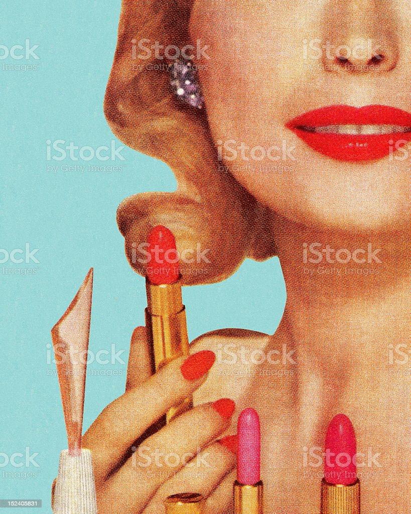Woman With Lipsticks vector art illustration