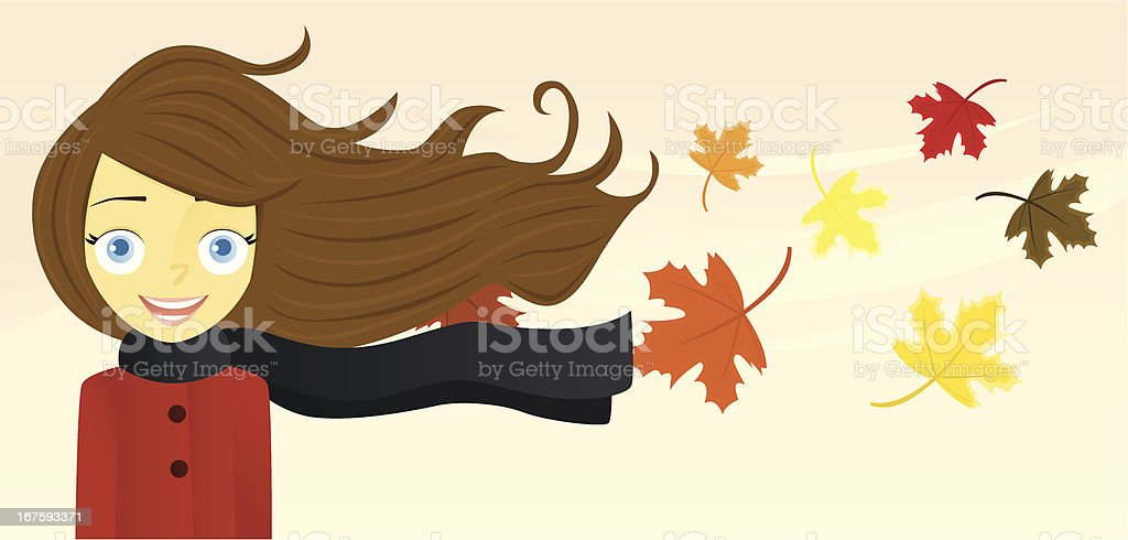 Woman with Long Hair (Autumn) A vector illustration of a smiling woman with her long hair blowing in the wind. The woman is on a separate layer from the background. Adult stock vector
