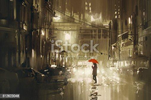 woman with red umbrella crossing the street,rainy night,illustration