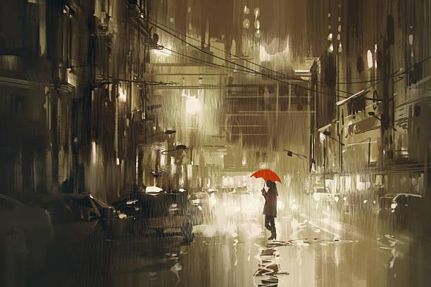 bildbanksillustrationer, clip art samt tecknat material och ikoner med woman with red umbrella crossing the street,rainy night - gränd