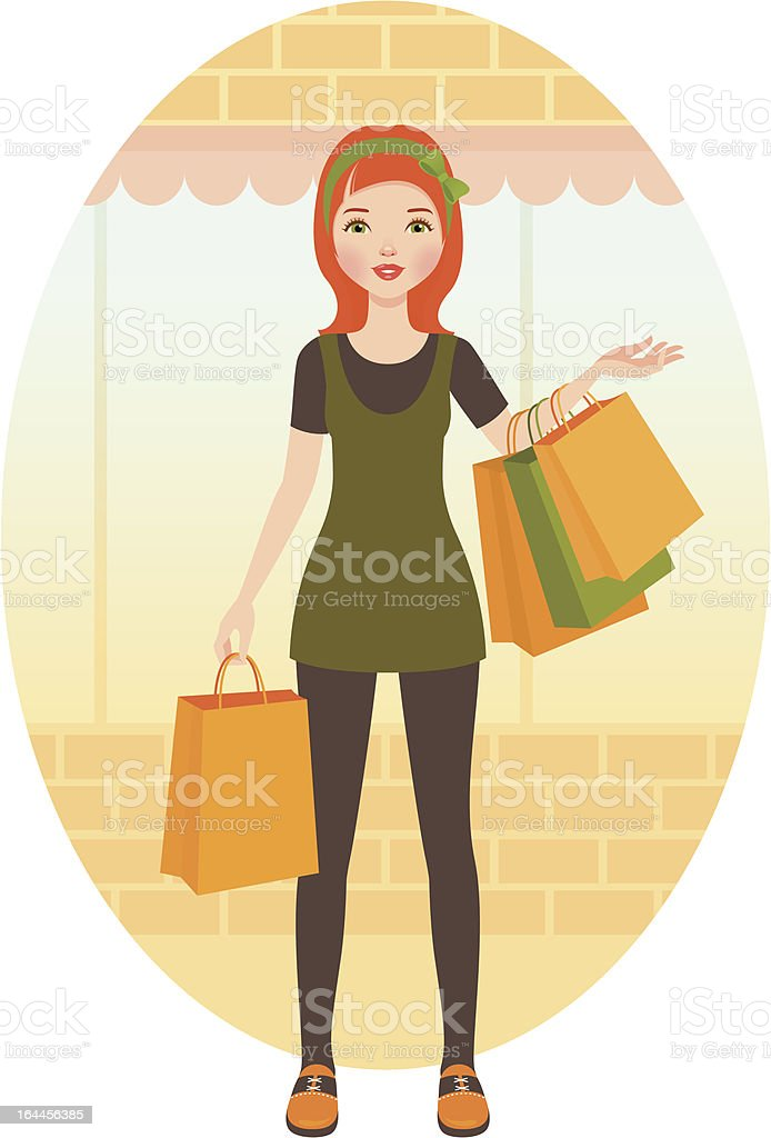 Woman with shopping royalty-free stock vector art