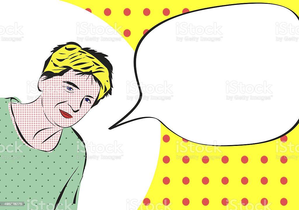 woman with speech bubble, comic style vector art illustration
