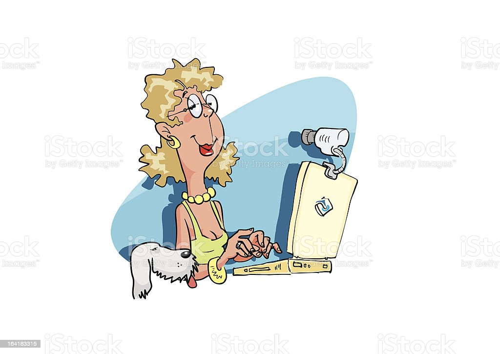 Woman with the laptop pc royalty-free stock vector art