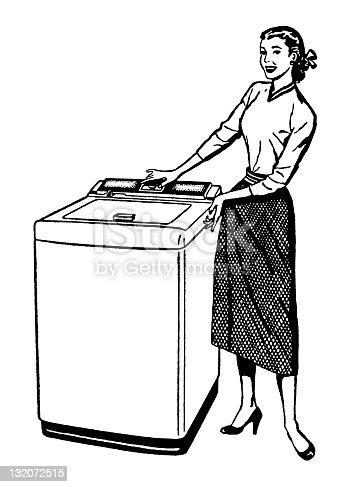 istock Woman With Washing Machine 132072515