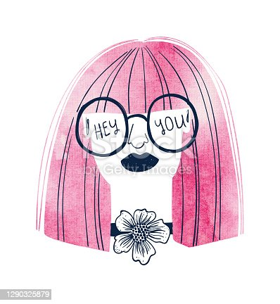 Woman with watercolor pink hair and glasses.