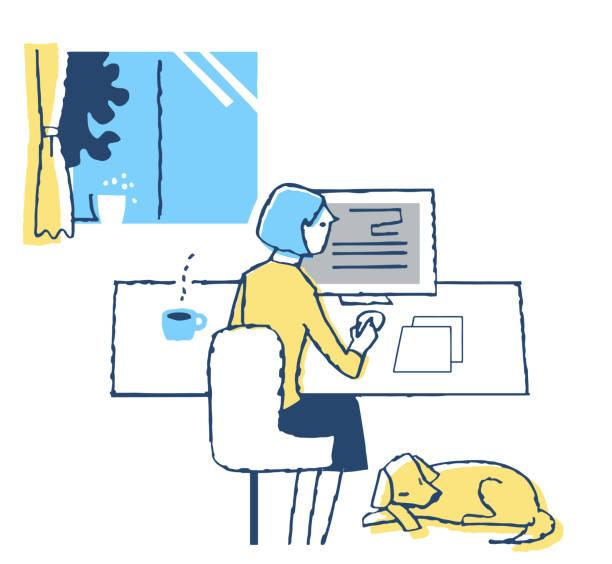 パソコンで働く女性 - テレビ会議 日本人点のイラスト素材/クリップアート素材/マンガ素材/アイコン素材