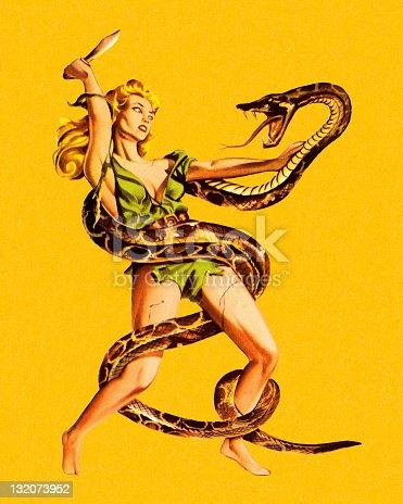 Woman Wrestling Snake