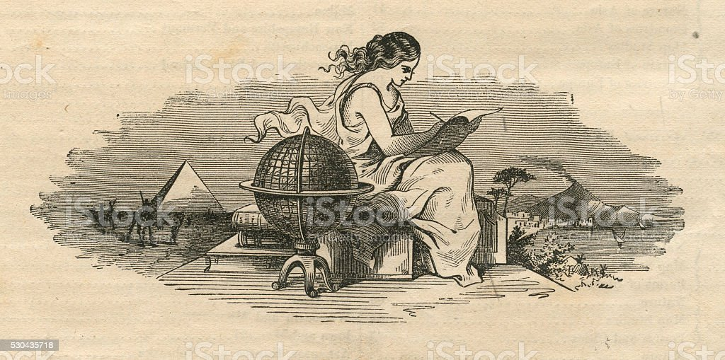 Woman Writing by World Globe, Antique 1871 Illustration vector art illustration