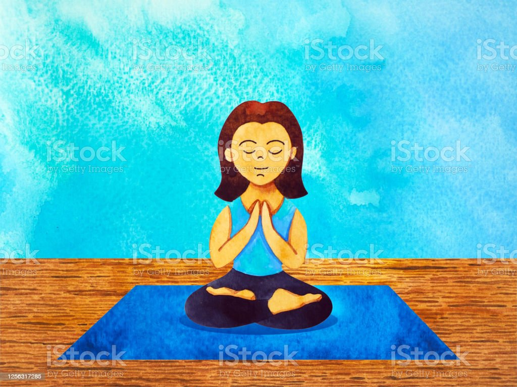 Woman Yoga On Mat Cartoon Character Watercolor Painting Illustration Design Stock Illustration Download Image Now Istock