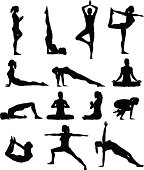 Detailed silhouettes set of woman doing yoga