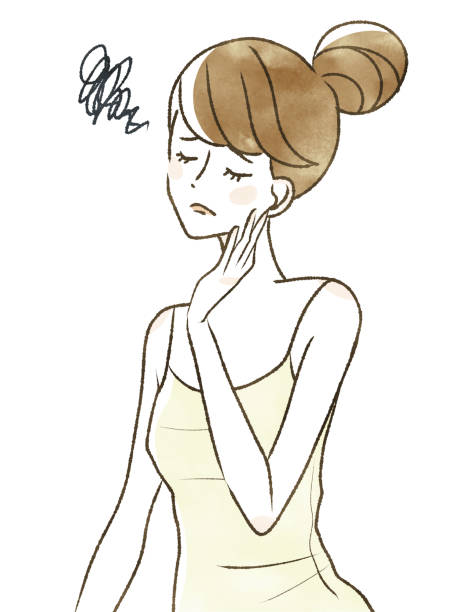 Woman-poor health Women who are not in good health sentimentality stock illustrations