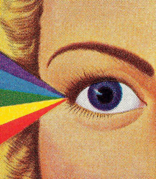 ilustraciones, imágenes clip art, dibujos animados e iconos de stock de woman's eye y rainbow - ojos azules