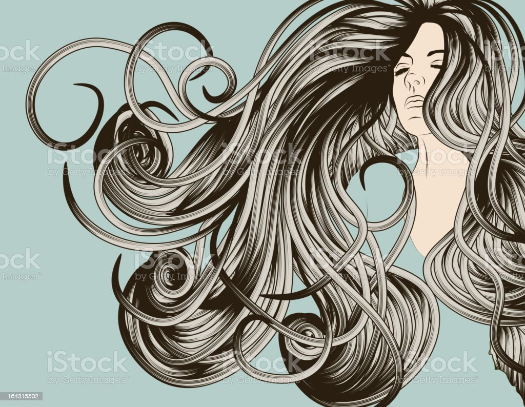 Woman's face with detailed flowing hair royalty-free stock vector art