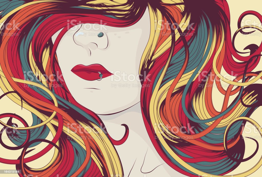 Woman's face with long colorful curly hair vector art illustration
