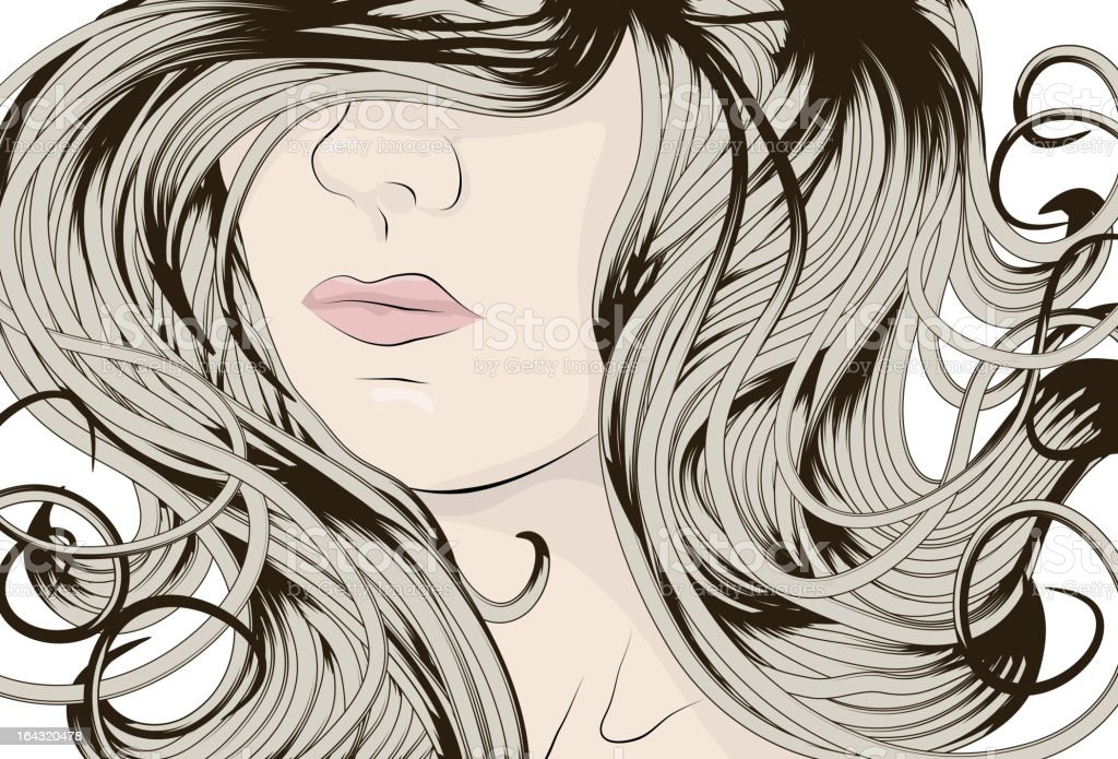 Woman's face with long detailed curly hair royalty-free stock vector art