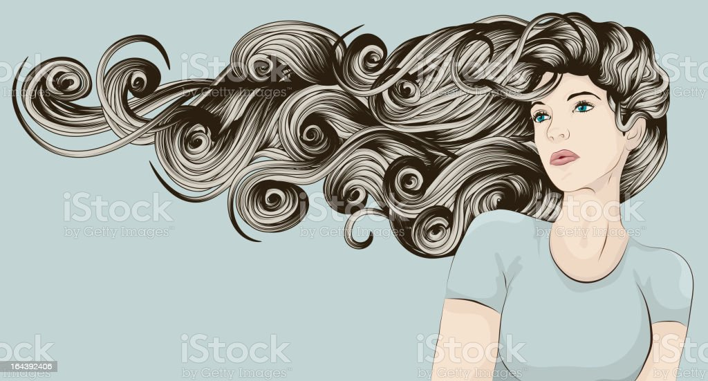 Woman's face with very long detailed hair vector art illustration