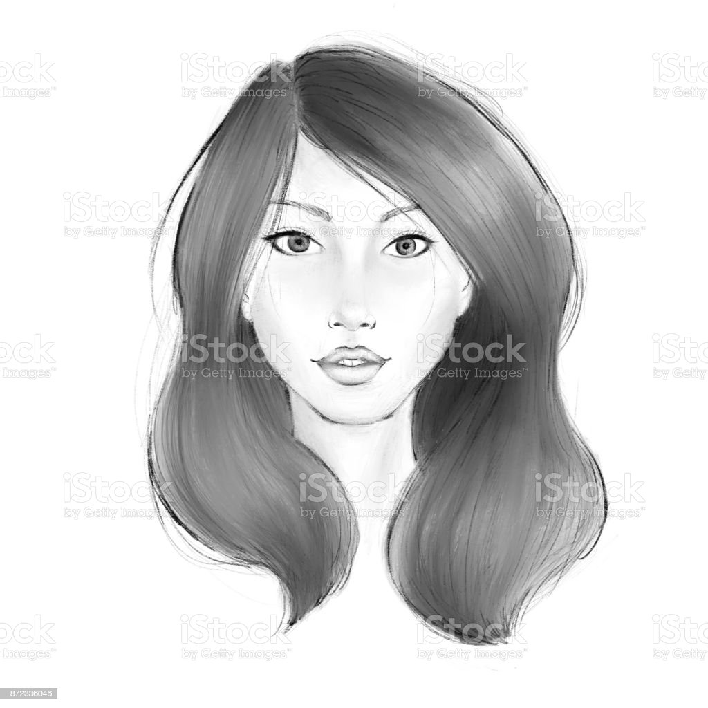 womans front view face sketch stock vector art more images of