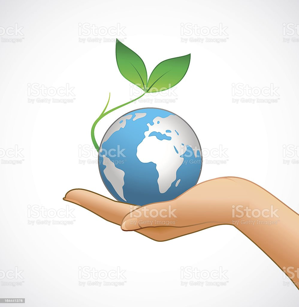 Woman's hand is holding small earth royalty-free womans hand is holding small earth stock vector art & more images of adult
