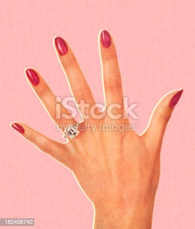Woman's Hand Wearing Engagement Ring
