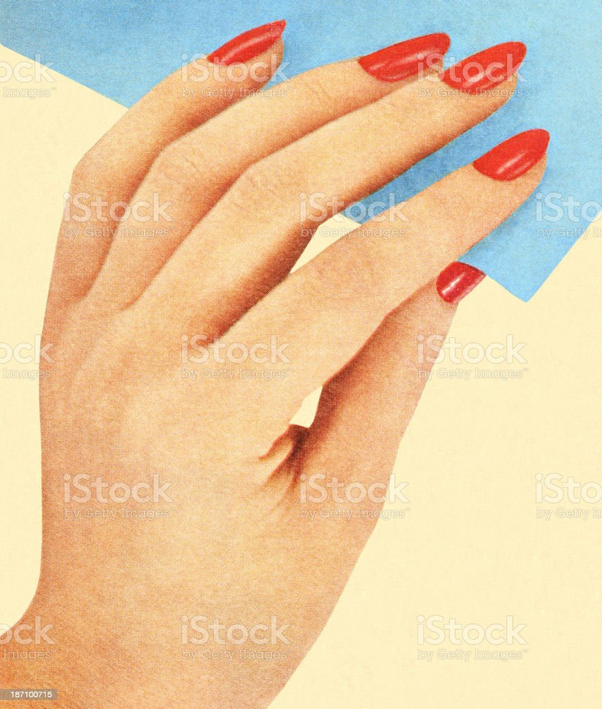 Womans Hand With Red Nail Polish royalty-free stock vector art