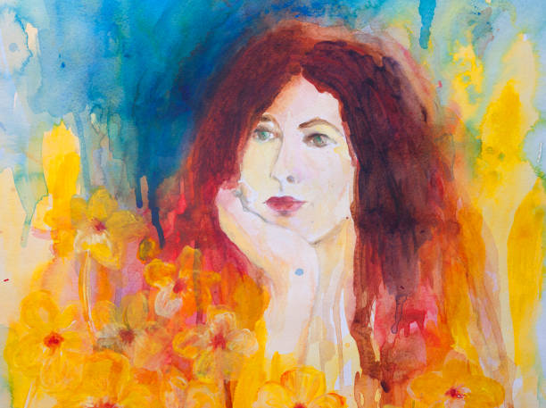 Woman's Portrait - Watercolor painting. Watercolor and acrylic painting of a woman's portrait, on watercolor paper. My own work. beautiful woman stock illustrations
