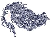 Woman's profile with long beautiful hair