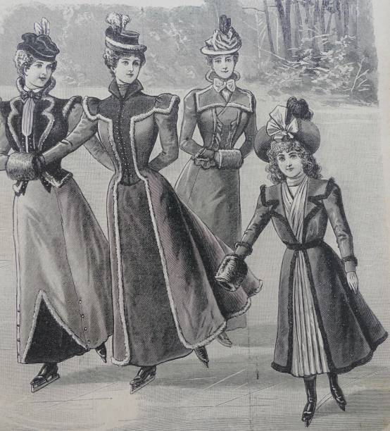 stockillustraties, clipart, cartoons en iconen met vrouwen en modieus gekleed meisje en schaatsen buiten - 1990 1999